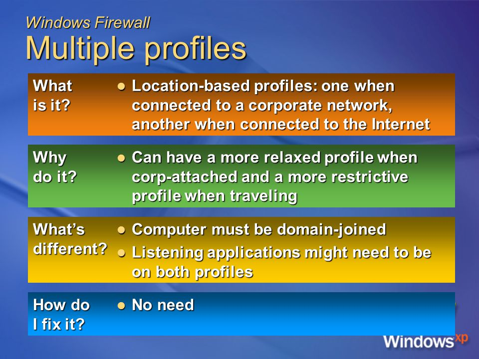 Windows Firewall Multiple profiles What is it.