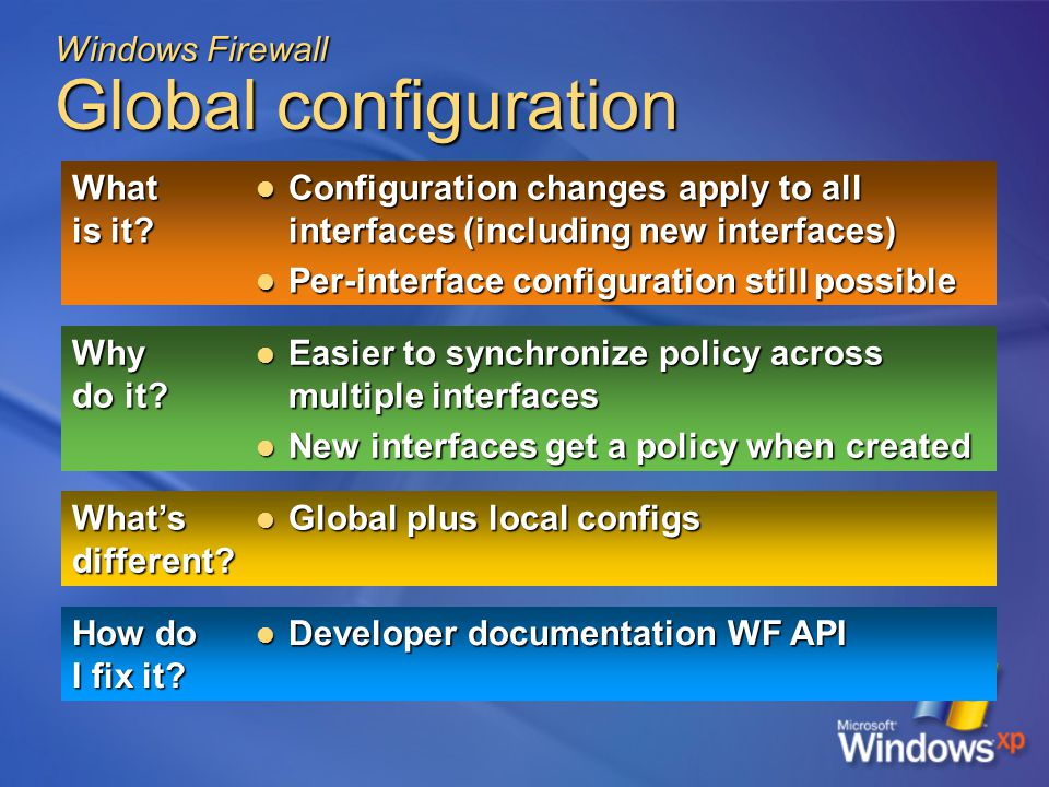 Windows Firewall Global configuration What is it.