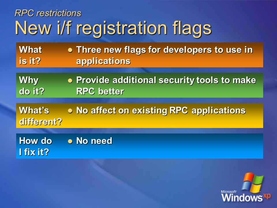 RPC restrictions New i/f registration flags What is it.