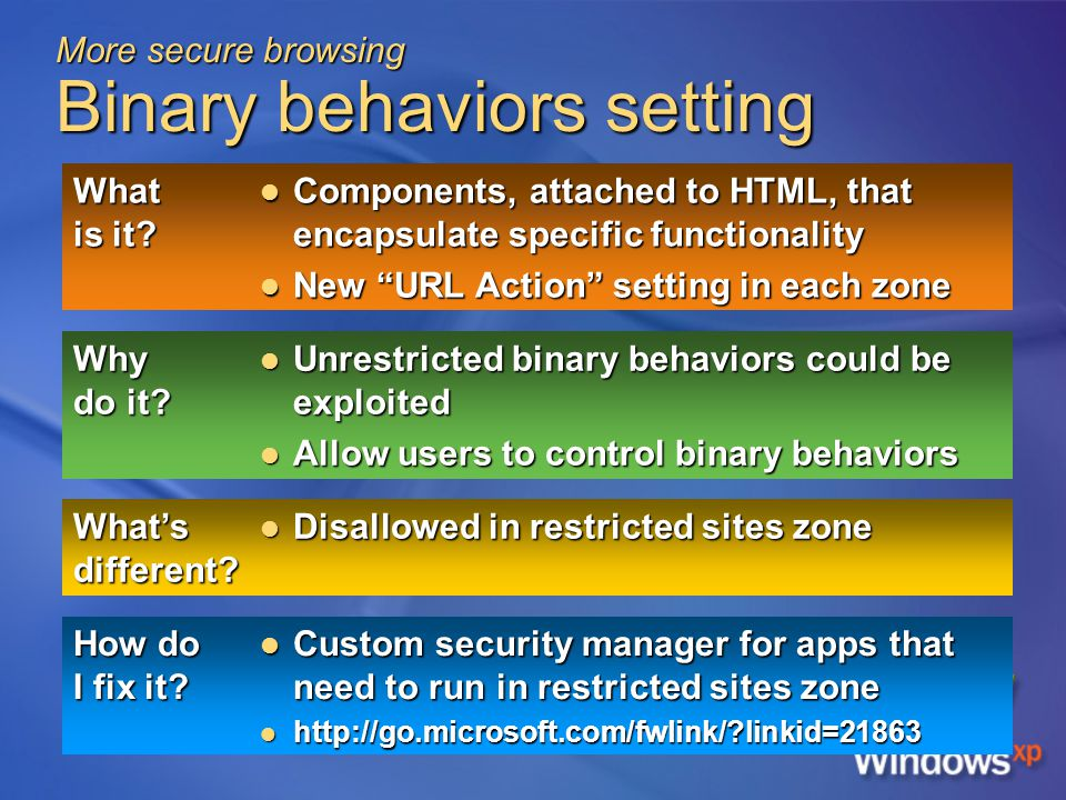 More secure browsing Binary behaviors setting What is it.