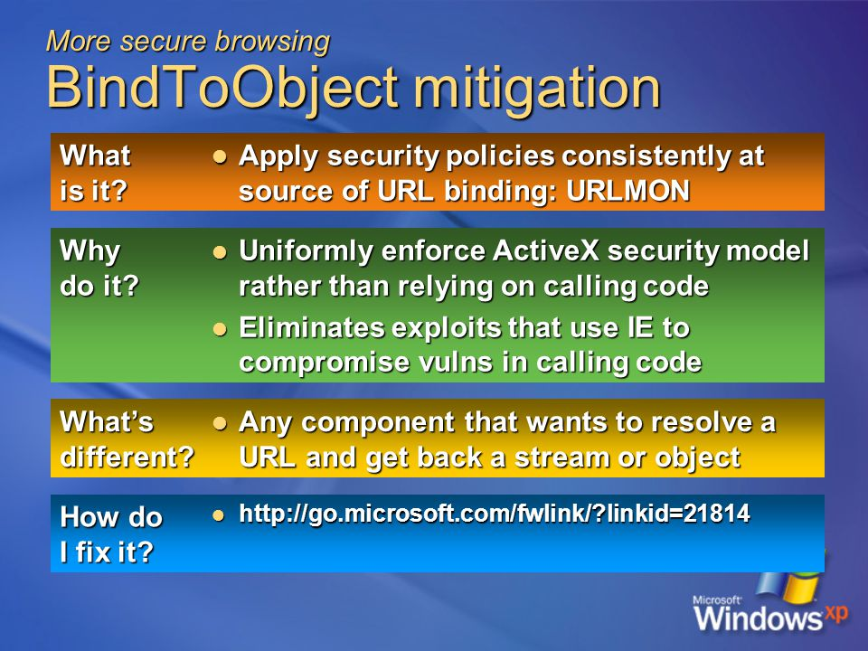 More secure browsing BindToObject mitigation What is it.