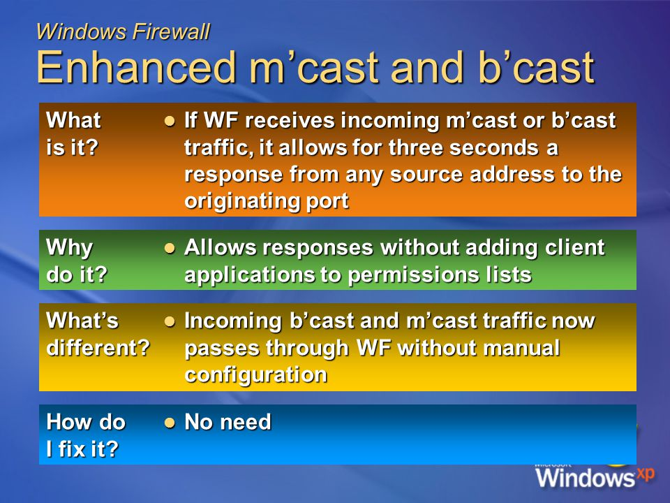 Windows Firewall Enhanced m'cast and b'cast What is it.