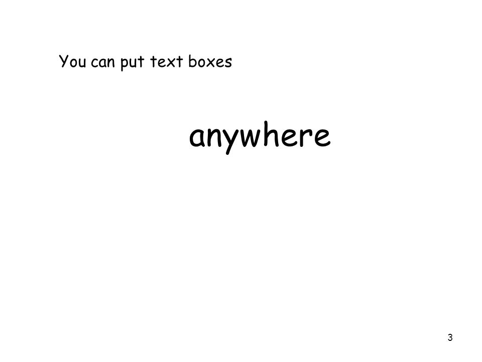 3 You can put text boxes anywhere