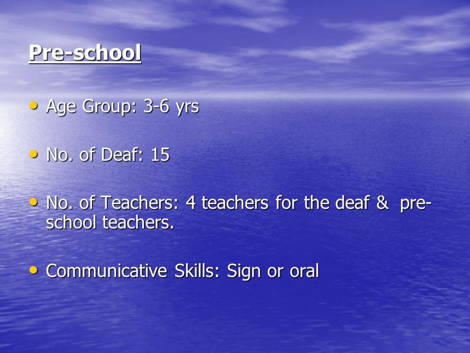 Pre-school Age Group: 3-6 yrs Age Group: 3-6 yrs No.