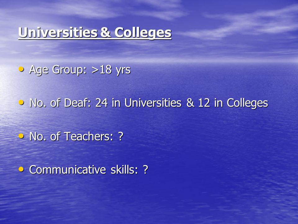 Universities & Colleges Age Group: >18 yrs Age Group: >18 yrs No. of Deaf: 24 in Universities & 12 in Colleges No. of Deaf: 24 in Universities & 12 in