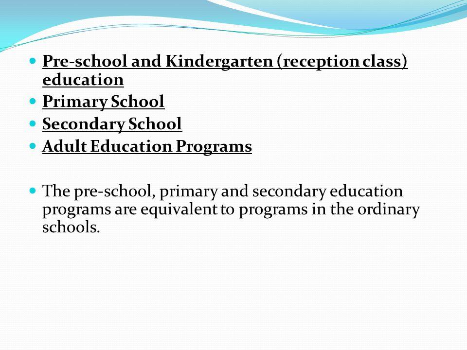 Pre-school and Kindergarten (reception class) education Primary School Secondary School Adult Education Programs The pre-school, primary and secondary education programs are equivalent to programs in the ordinary schools.