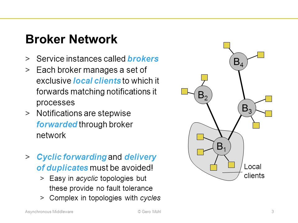 Asynchronous Middleware© Gero Mühl4 Flooding  Each notification is delivered to all brokers  A broker forwards an incoming notification to all neighbors if it was received from a local client and to all other neighbors if it was received from a neighbor  Advantages  No routing tables necessary  Subscriptions become active immediately  Implementations can easily exploit IP-Multicast  Disadvantage  Many notifications may be processed and forwarded unnecessarily wasting computing power and network bandwidth