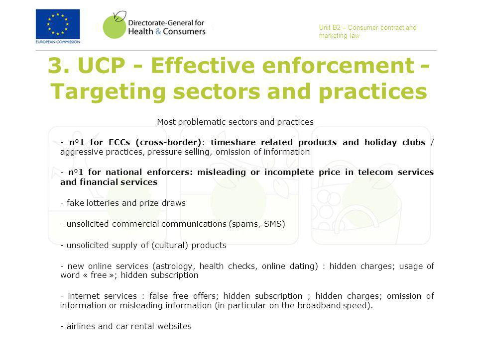 3. UCP - Effective enforcement - Targeting sectors and practices Most problematic sectors and practices - n°1 for ECCs (cross-border): timeshare relat