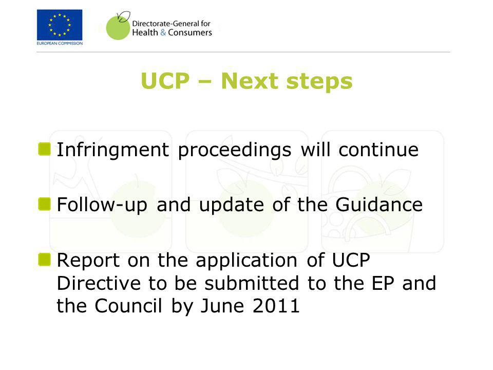 UCP – Next steps Infringment proceedings will continue Follow-up and update of the Guidance Report on the application of UCP Directive to be submitted