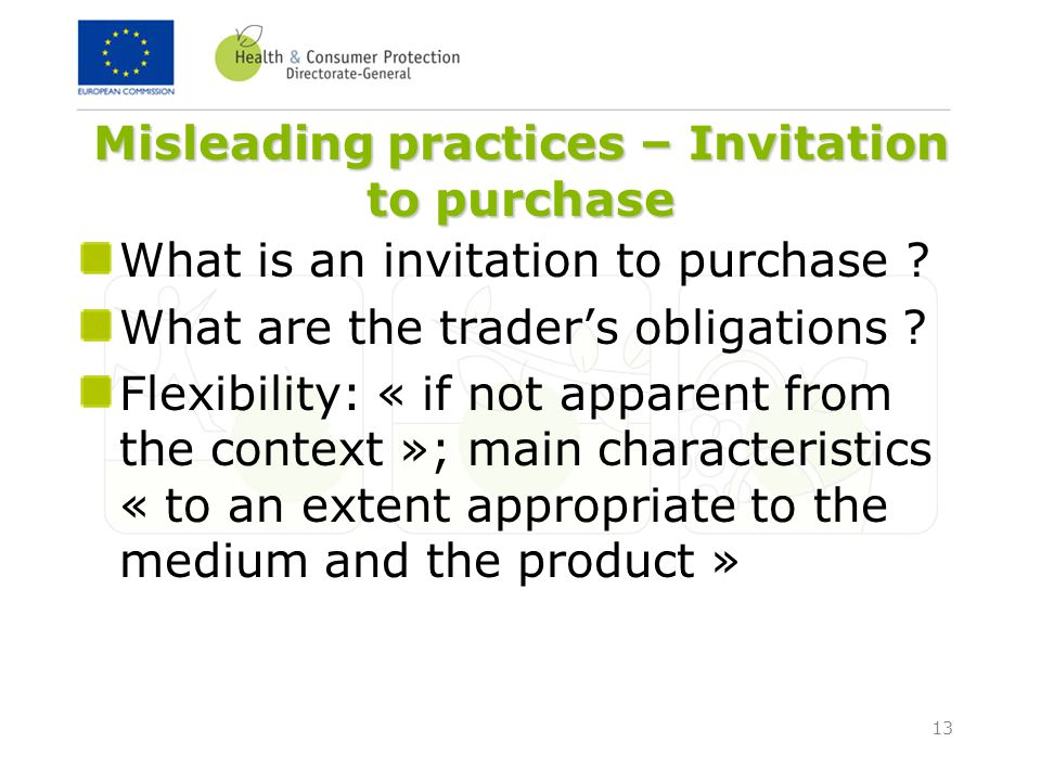 13 Misleading practices – Invitation to purchase What is an invitation to purchase .