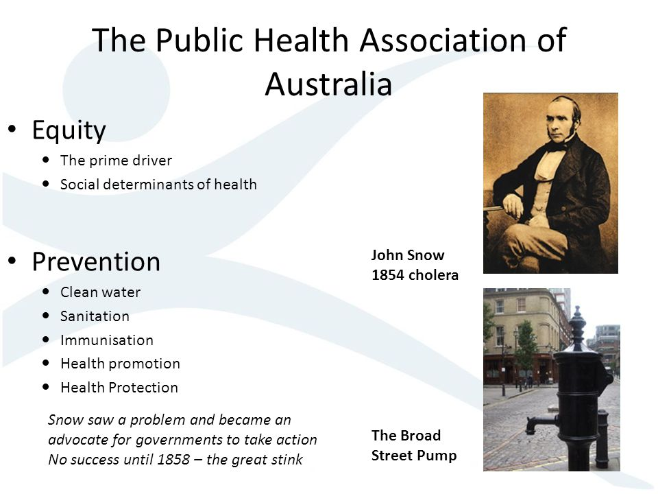 The Public Health Association of Australia Equity The prime driver Social determinants of health Prevention Clean water Sanitation Immunisation Health promotion Health Protection John Snow 1854 cholera The Broad Street Pump Snow saw a problem and became an advocate for governments to take action No success until 1858 – the great stink