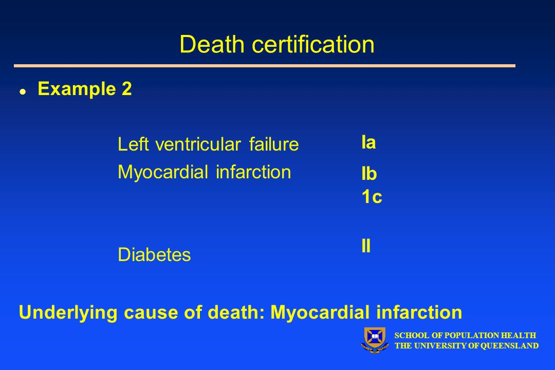 SCHOOL OF POPULATION HEALTH THE UNIVERSITY OF QUEENSLAND l Example 2 Left ventricular failure Myocardial infarction Diabetes Ia Ib 1c II Underlying cause of death: Myocardial infarction Death certification