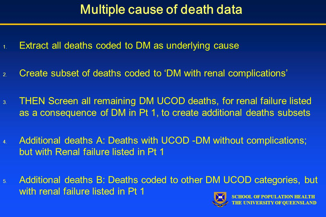 SCHOOL OF POPULATION HEALTH THE UNIVERSITY OF QUEENSLAND Multiple cause of death data 1.