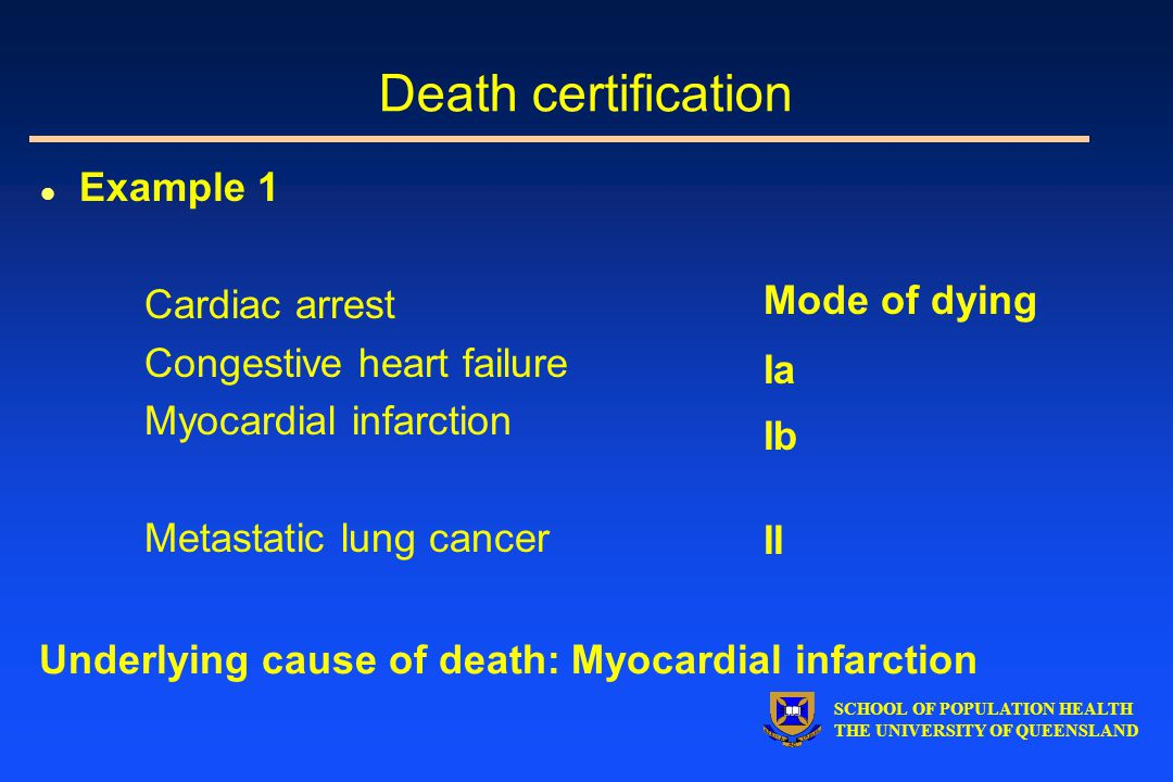 SCHOOL OF POPULATION HEALTH THE UNIVERSITY OF QUEENSLAND l Example 1 Cardiac arrest Congestive heart failure Myocardial infarction Metastatic lung cancer Mode of dying Ia Ib II Underlying cause of death: Myocardial infarction Death certification