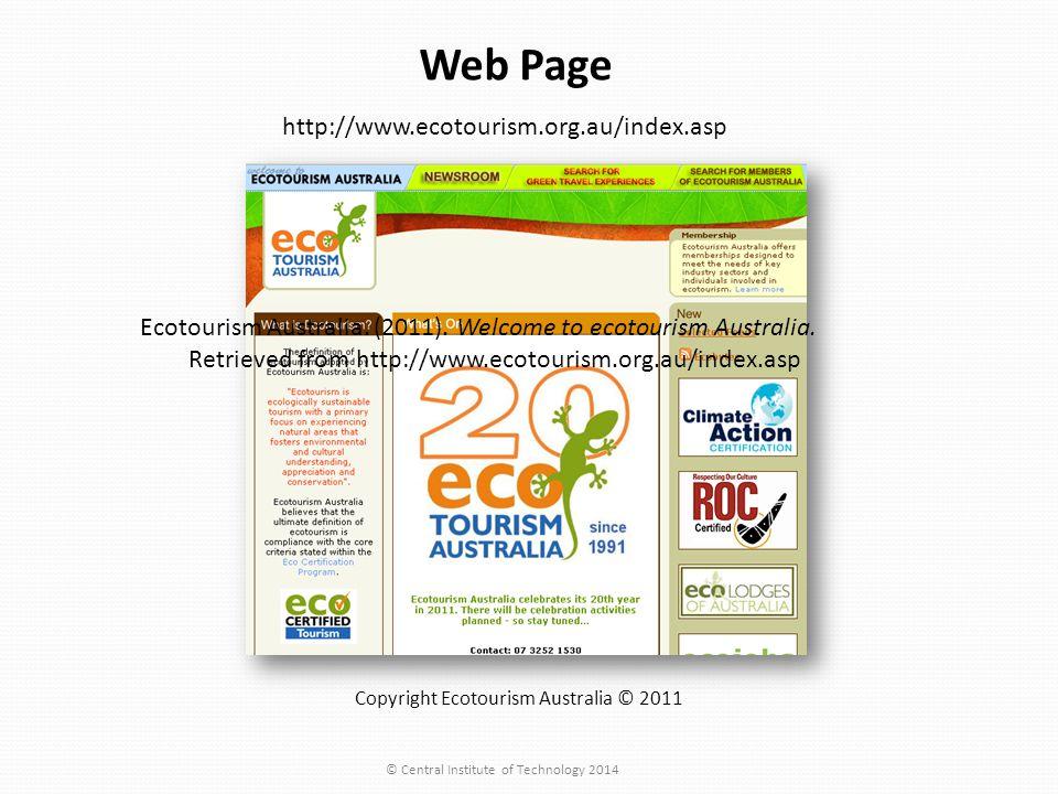 http://www.ecotourism.org.au/index.asp Copyright Ecotourism Australia © 2011 Web Page Ecotourism Australia.