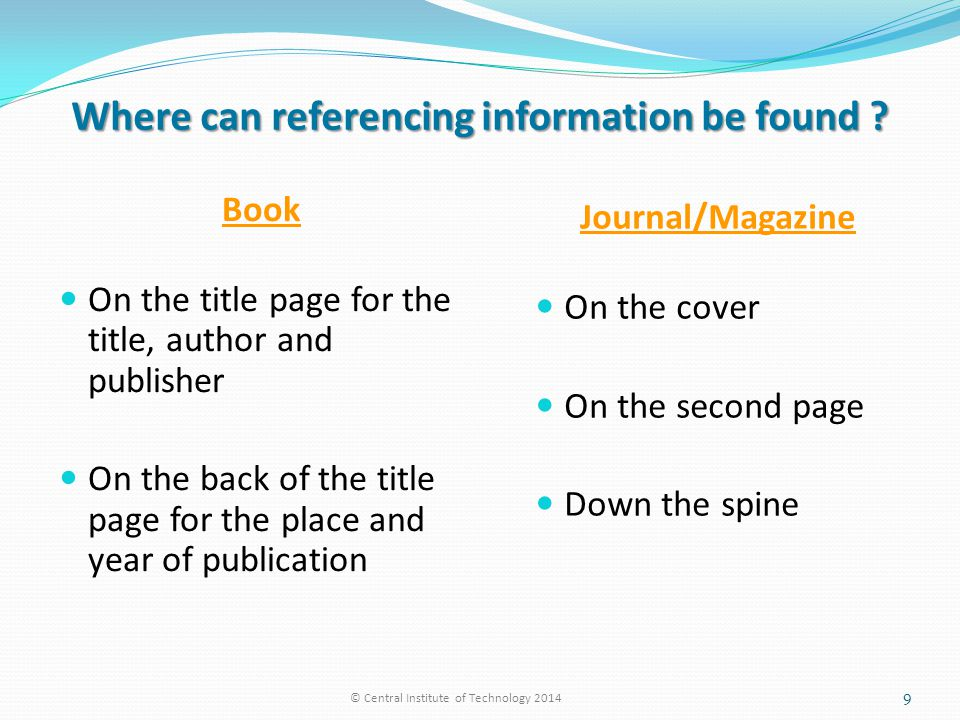 Where can referencing information be found .