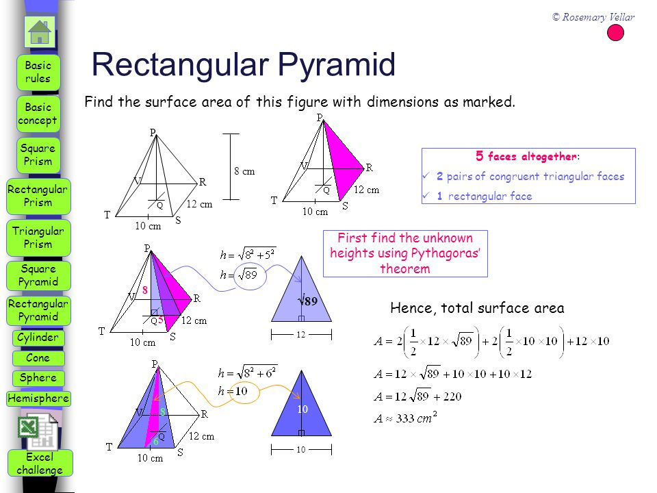 Square Pyramid Triangular Prism Square Prism Rectangular Prism Rectangular Pyramid Basic rules Basic concept Cylinder Cone Sphere Hemisphere © Rosemary Vellar Excel challenge Rectangular Pyramid 10 cm P Q 12 cm 8 cm R S T V 5 8 6 8 5 faces altogether: 2 pairs of congruent triangular faces 1 rectangular face Hence, total surface area 10 First find the unknown heights using Pythagoras' theorem  89 12 Find the surface area of this figure with dimensions as marked.