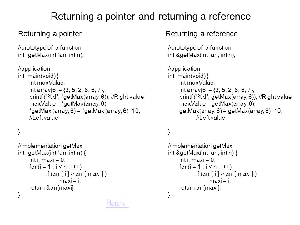 Returning a pointer //prototype of a function int *getMax(int *arr, int n); //application int main(void) { int maxValue; int array[6] = {3, 5, 2, 8, 6, 7}; printf ( %d , *getMax(array, 6)); //Right value maxValue = *getMax(array, 6); *getMax (array, 6) = *getMax (array, 6) *10; //Left value } //implementation getMax int *getMax(int *arr, int n) { int i, maxi = 0; for (i = 1 ; i < n ; i++) if (arr [ i ] > arr [ maxi ] ) maxi = i; return &arr[maxi]; } Returning a reference Returning a pointer and returning a reference Back //prototype of a function int &getMax(int *arr, int n); //application int main(void) { int maxValue; int array[6] = {3, 5, 2, 8, 6, 7}; printf ( %d , getMax(array, 6)); //Right value maxValue = getMax(array, 6); getMax(array, 6) = getMax(array, 6) *10; //Left value } //implementation getMax int &getMax(int *arr, int n) { int i, maxi = 0; for (i = 1 ; i < n ; i++) if (arr [ i ] > arr [ maxi ] ) maxi = i; return arr[maxi]; }
