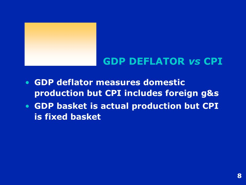 8 GDP DEFLATOR vs CPI GDP deflator measures domestic production but CPI includes foreign g&s GDP basket is actual production but CPI is fixed basket