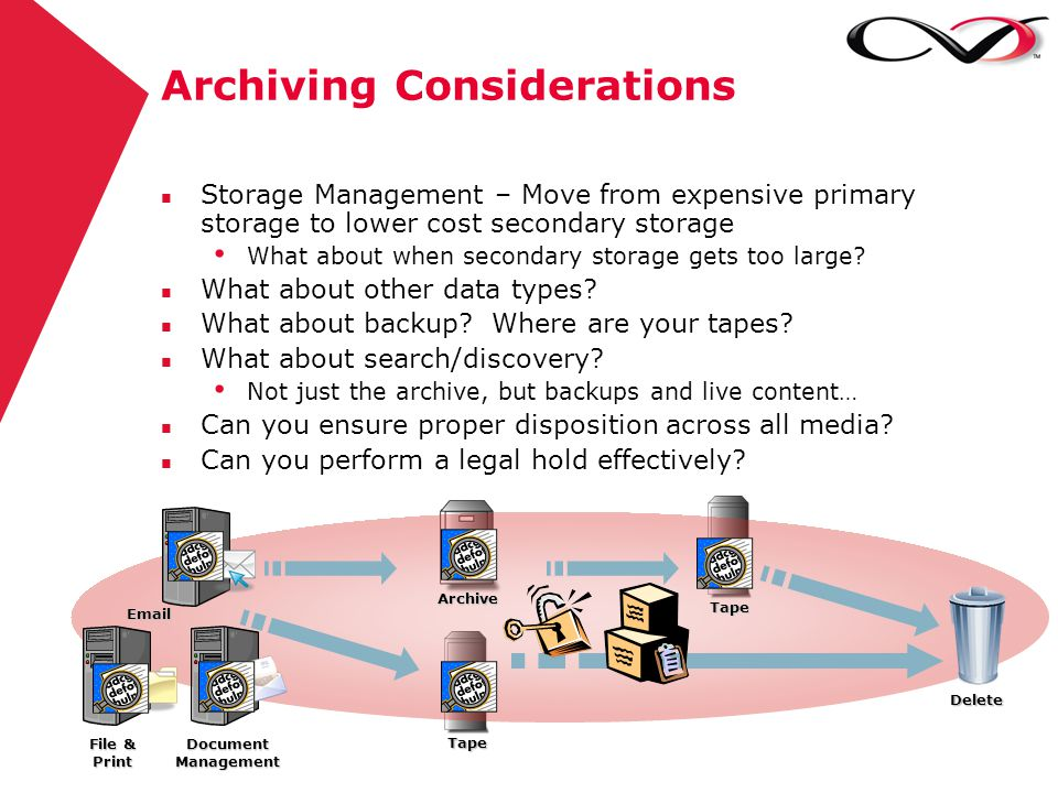 Archiving Considerations Delete n Storage Management – Move from expensive primary storage to lower cost secondary storage What about when secondary s