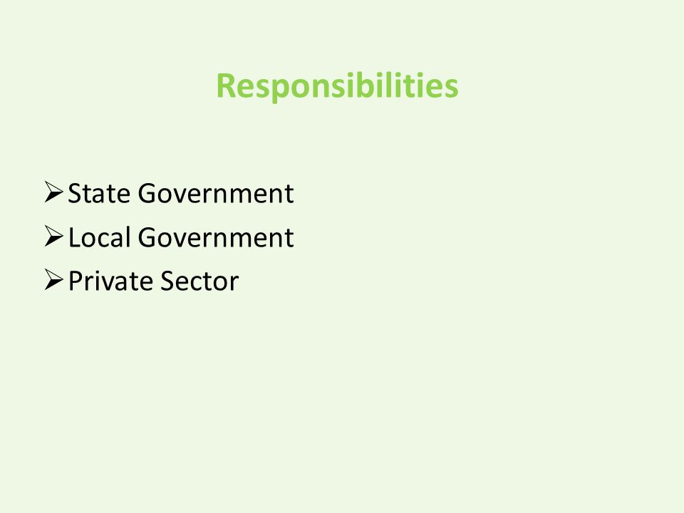 Responsibilities  State Government  Local Government  Private Sector
