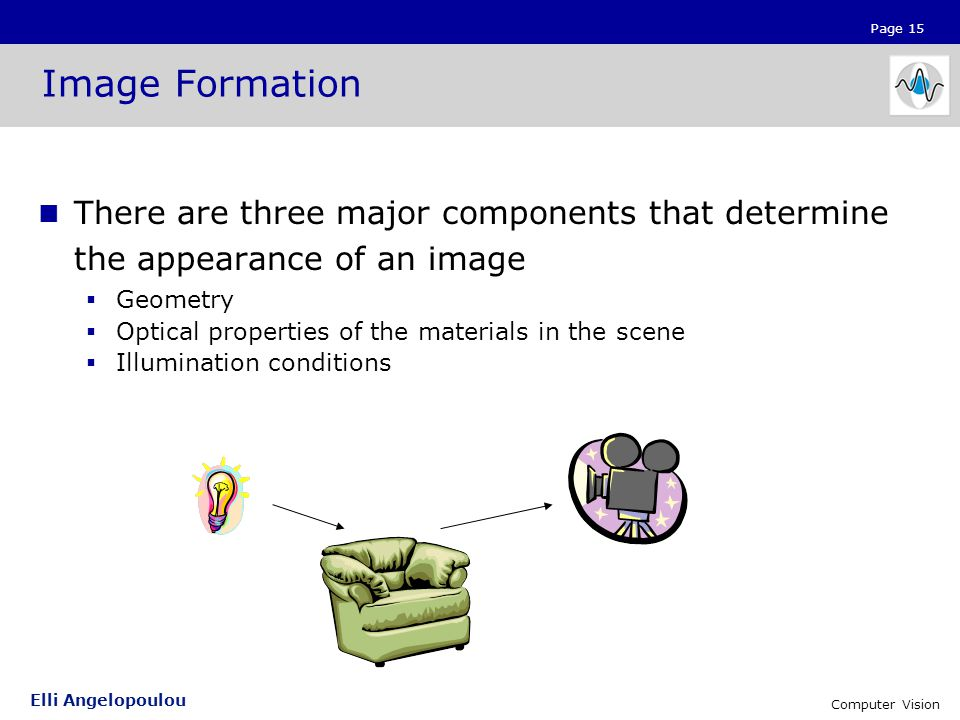 Page 15 Elli Angelopoulou Computer Vision Image Formation There are three major components that determine the appearance of an image  Geometry  Optical properties of the materials in the scene  Illumination conditions