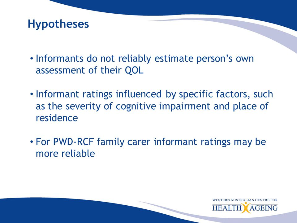 Conclusion There is substantial variation in QoL rating, between different raters, especially for PWD-RCF.
