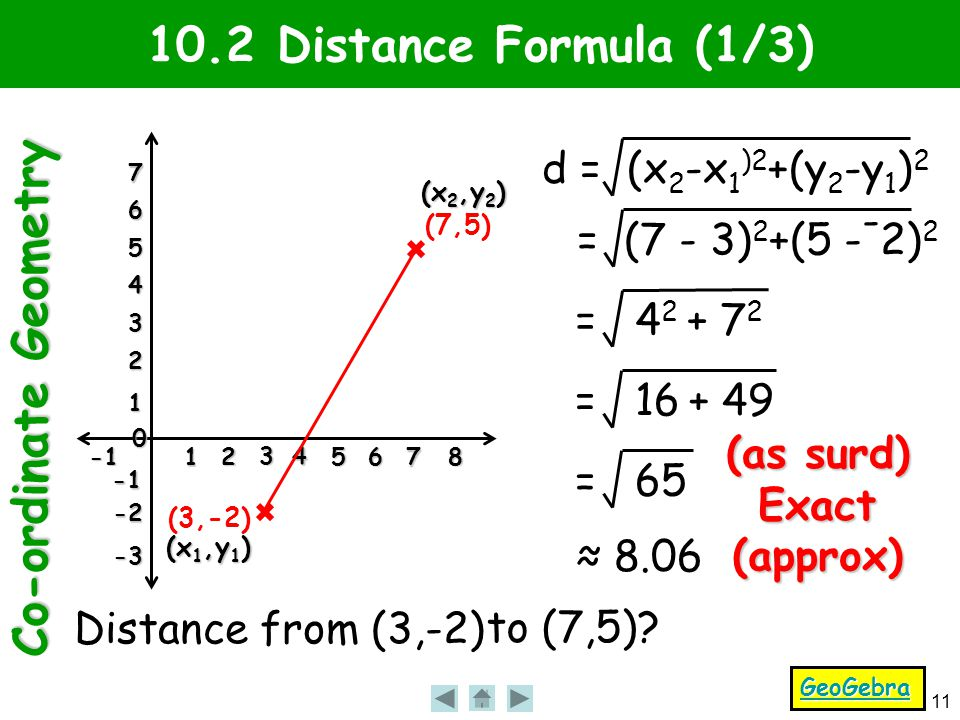 Co-ordinate Geometry 11 1 2 3 4 56 7 8 0 1 2 3 4 5 6 7 -2 -3 10.2 Distance Formula (1/3) Distance from (3,-2) to (7,5).