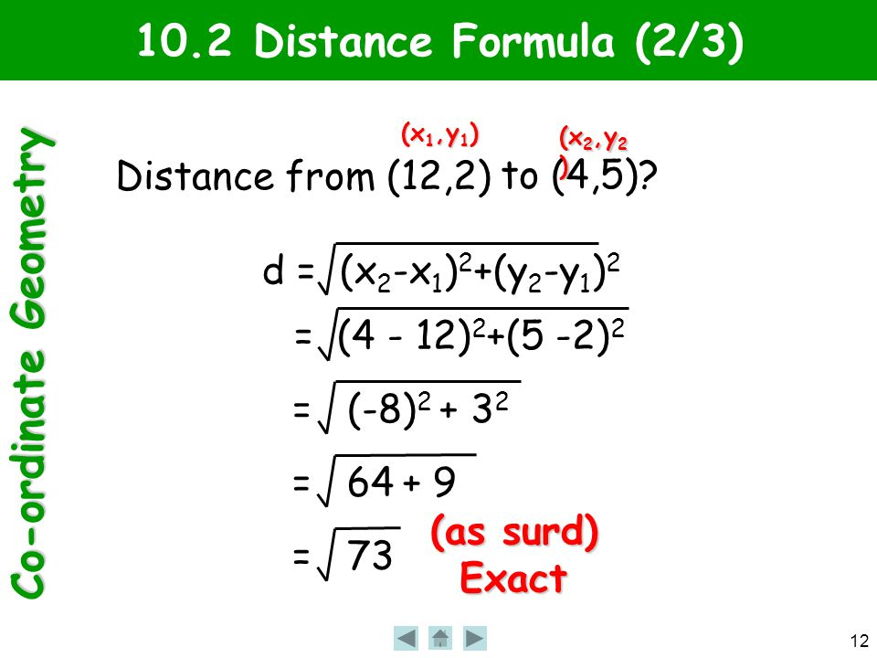 Co-ordinate Geometry 12 10.2 Distance Formula (2/3) Distance from (12,2) to (4,5).