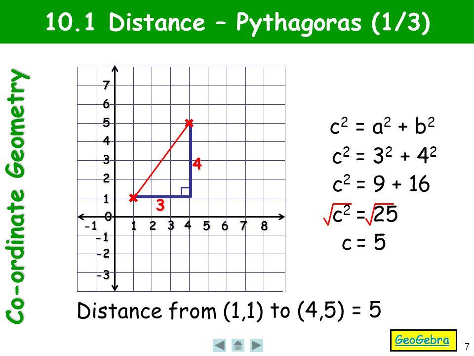 Co-ordinate Geometry 7 1 2 3 4 56 7 8 0 1 2 3 4 5 6 7 -2 -3 10.1 Distance – Pythagoras (1/3) Distance from (1,1) to (4,5) = 5 3 4 c 2 = a 2 + b 2 c 2 = 3 2 + 4 2 c 2 = 9 + 16 c 2 = 25 c = 5 GeoGebra