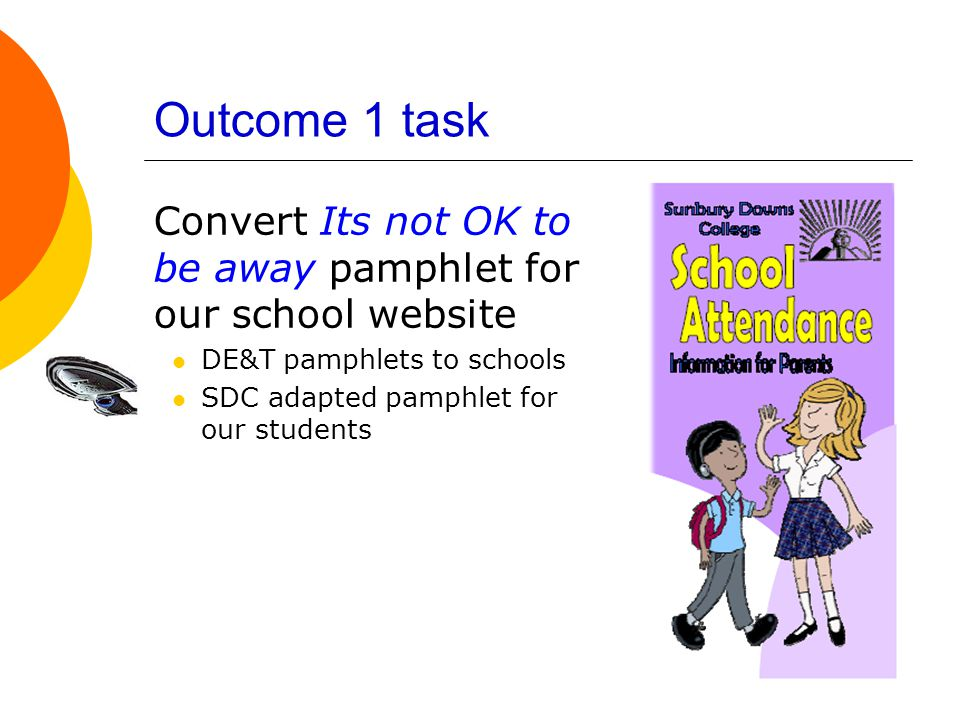 Outcome 1 task Convert Its not OK to be away pamphlet for our school website DE&T pamphlets to schools SDC adapted pamphlet for our students