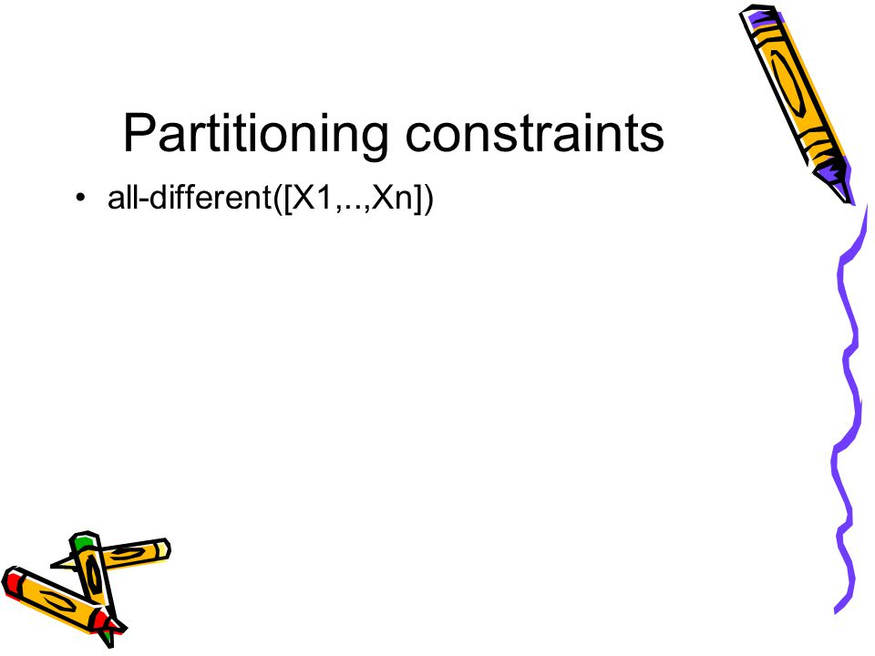 Partitioning constraints all-different([X1,..,Xn])