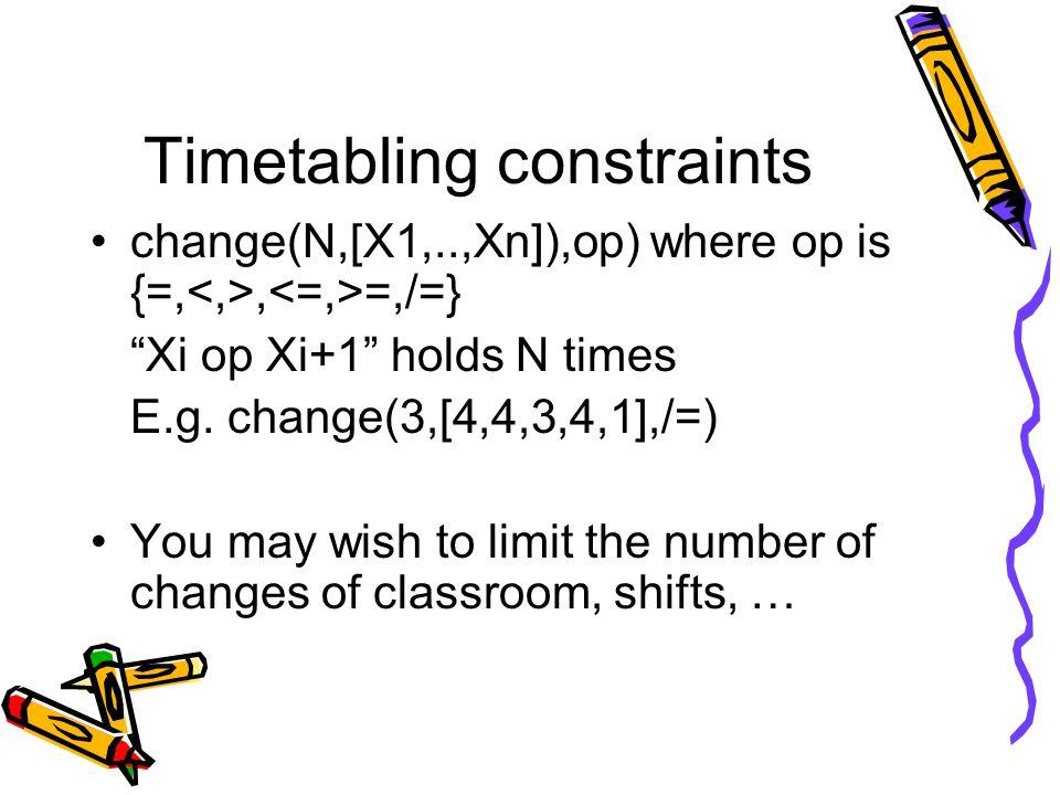 Timetabling constraints change(N,[X1,..,Xn]),op) where op is {=,, =,/=} Xi op Xi+1 holds N times E.g.