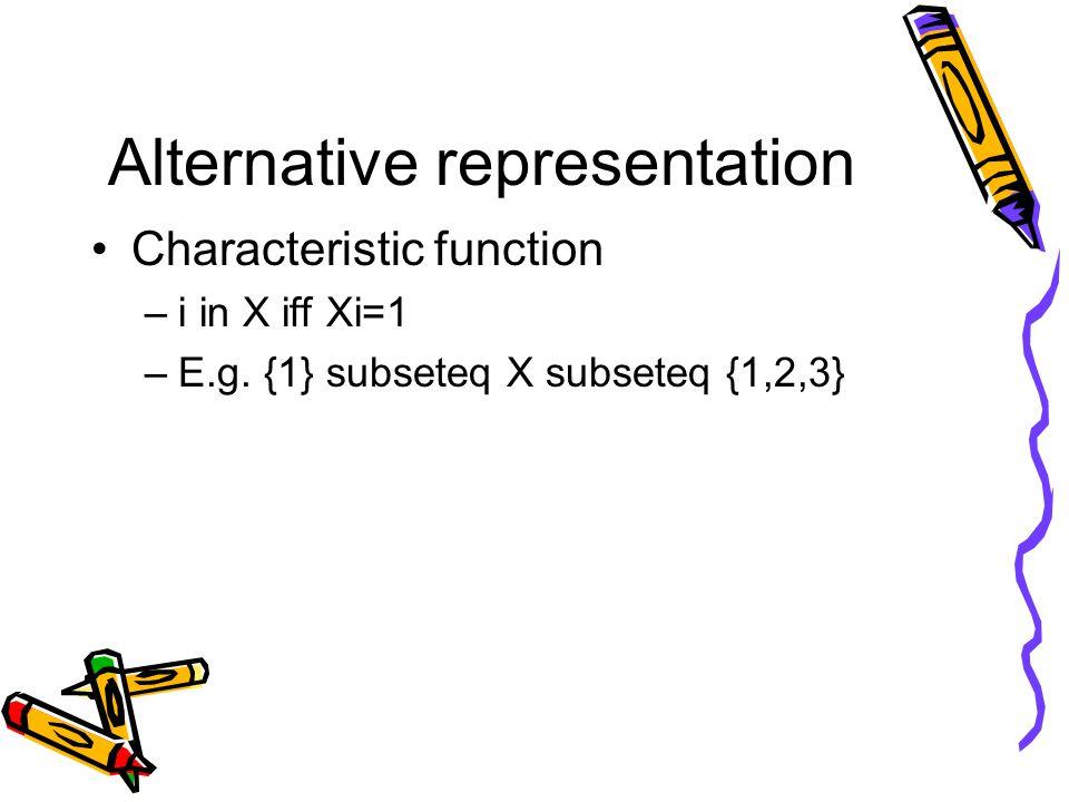 Alternative representation Characteristic function –i in X iff Xi=1 –E.g.