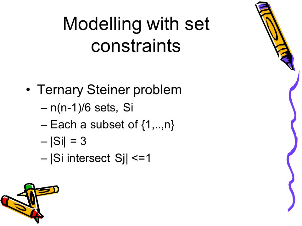 Modelling with set constraints Ternary Steiner problem –n(n-1)/6 sets, Si –Each a subset of {1,..,n} –|Si| = 3 –|Si intersect Sj| <=1