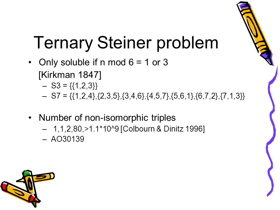 Ternary Steiner problem Only soluble if n mod 6 = 1 or 3 [Kirkman 1847] –S3 = {{1,2,3}} –S7 = {{1,2,4},{2,3,5},{3,4,6},{4,5,7},{5,6,1},{6,7,2},{7,1,3}} Number of non-isomorphic triples – 1,1,2,80,>1.1*10^9 [Colbourn & Dinitz 1996] –AO30139