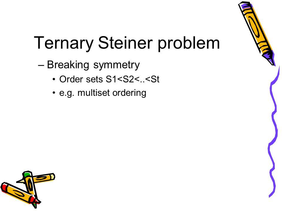 Ternary Steiner problem –Breaking symmetry Order sets S1<S2<..<St e.g. multiset ordering
