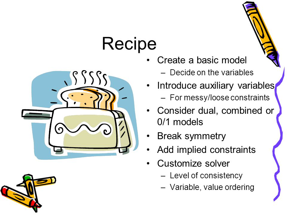 Recipe Create a basic model –Decide on the variables Introduce auxiliary variables –For messy/loose constraints Consider dual, combined or 0/1 models Break symmetry Add implied constraints Customize solver –Level of consistency –Variable, value ordering