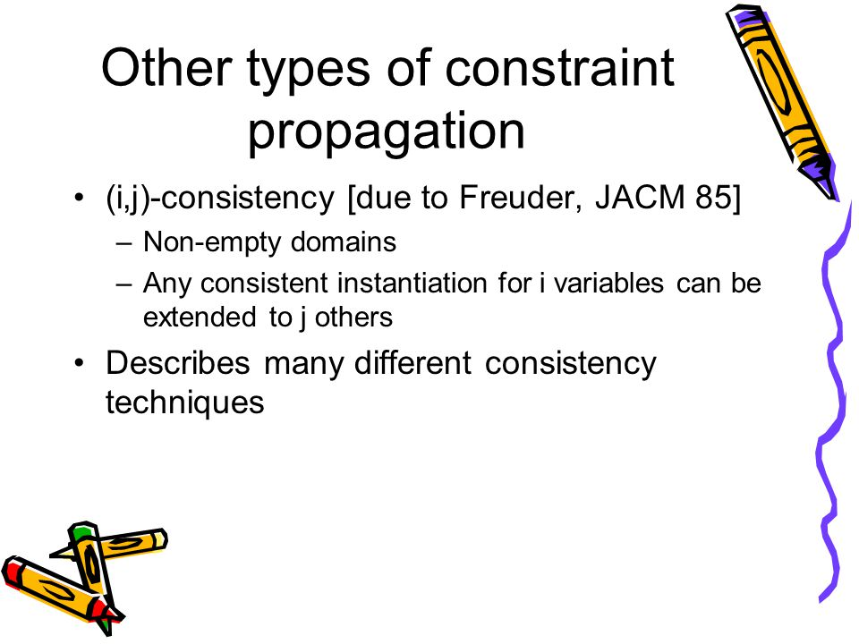 Other types of constraint propagation (i,j)-consistency [due to Freuder, JACM 85] –Non-empty domains –Any consistent instantiation for i variables can be extended to j others Describes many different consistency techniques