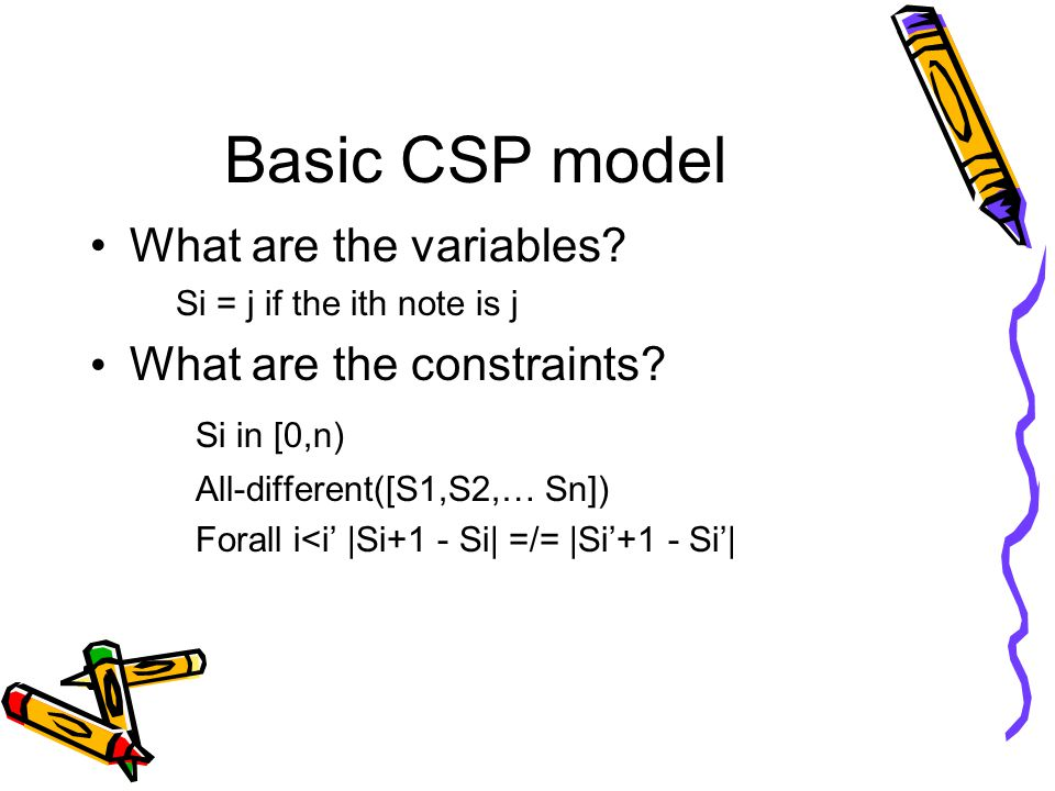 Basic CSP model What are the variables. Si = j if the ith note is j What are the constraints.