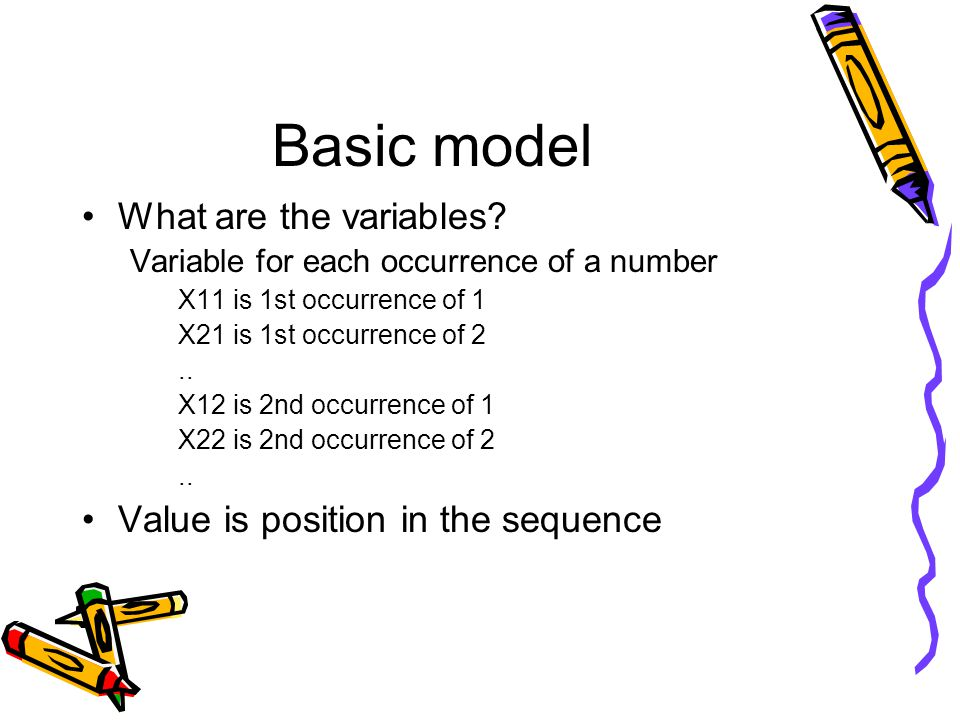 Basic model What are the variables.