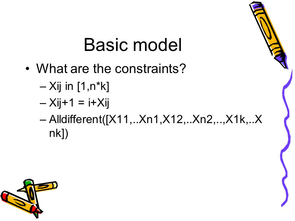 Basic model What are the constraints.