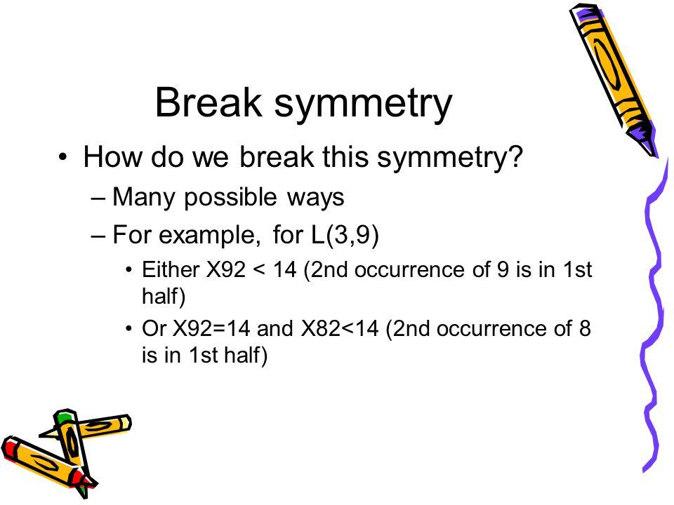 Break symmetry How do we break this symmetry.