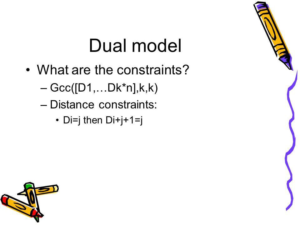 Dual model What are the constraints? –Gcc([D1,…Dk*n],k,k) –Distance constraints: Di=j then Di+j+1=j