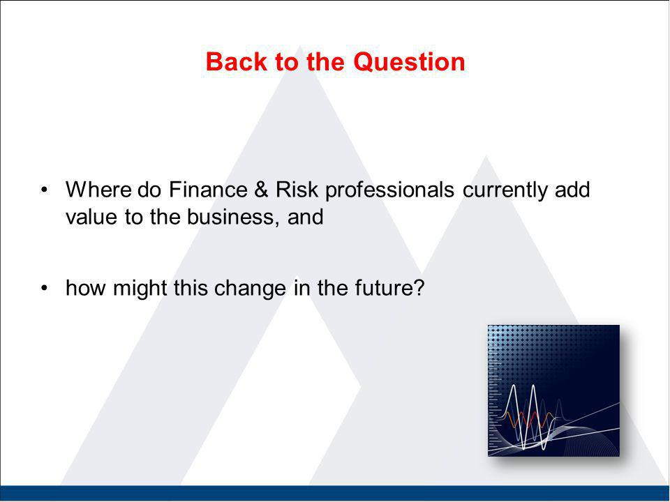 Back to the Question Where do Finance & Risk professionals currently add value to the business, and how might this change in the future