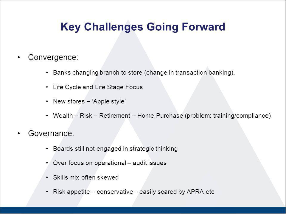 Convergence: Banks changing branch to store (change in transaction banking), Life Cycle and Life Stage Focus New stores – 'Apple style' Wealth – Risk
