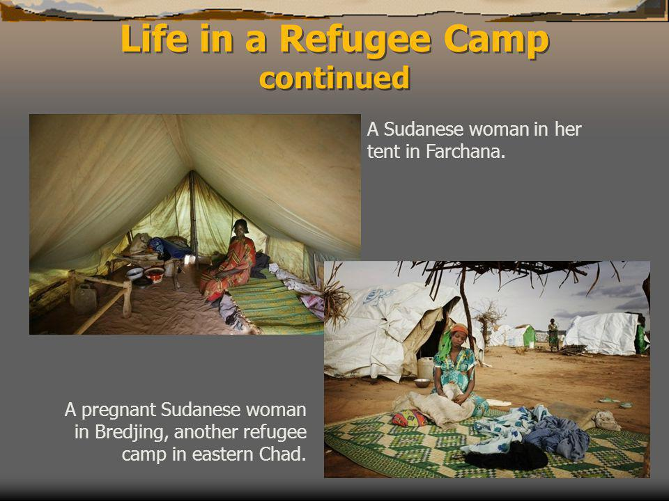 Life in a Refugee Camp continued A Sudanese woman in her tent in Farchana.