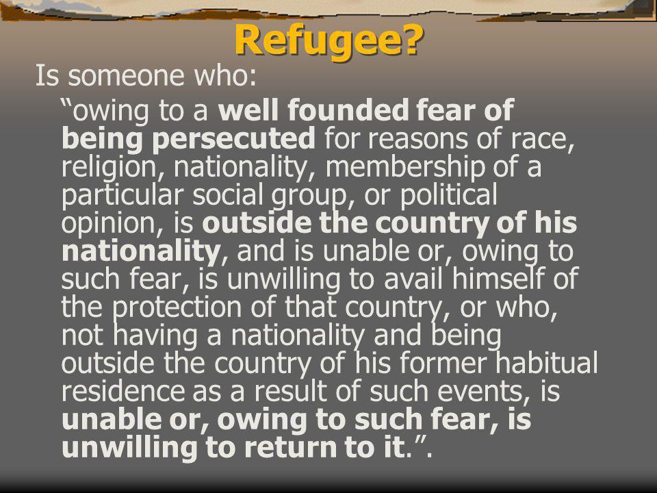 Refugee.