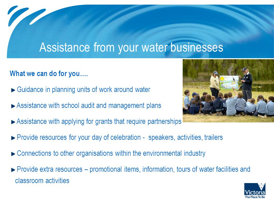 Possible picture placement area Assistance from your water businesses What we can do for you….