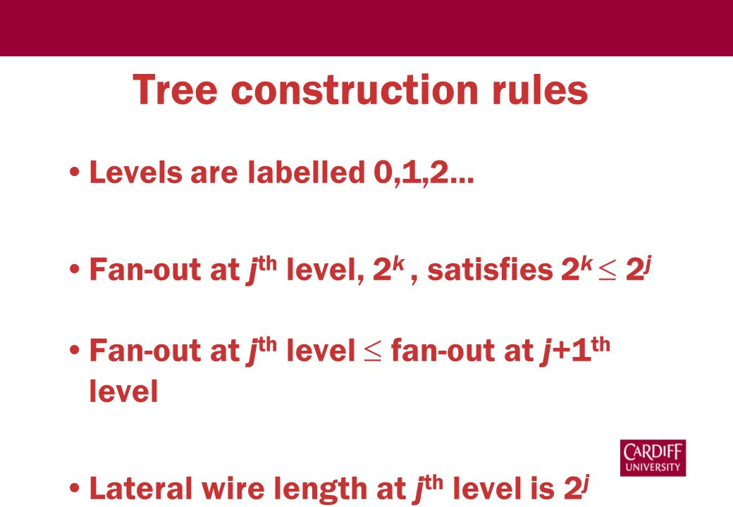 Tree construction rules Levels are labelled 0,1,2...
